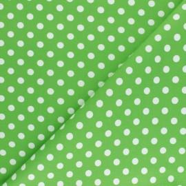 Tissu Gabardine Lycra à pois blanc - vert anis x 10cm