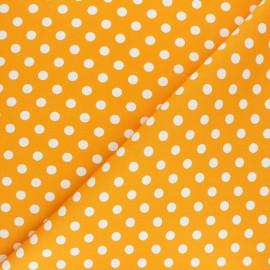 Tissu Gabardine Lycra à pois blanc - jaune x 10cm