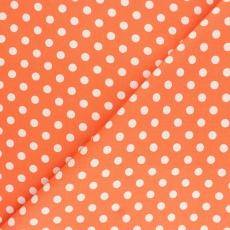 Tissu Gabardine Lycra à pois blanc - orange x 10cm