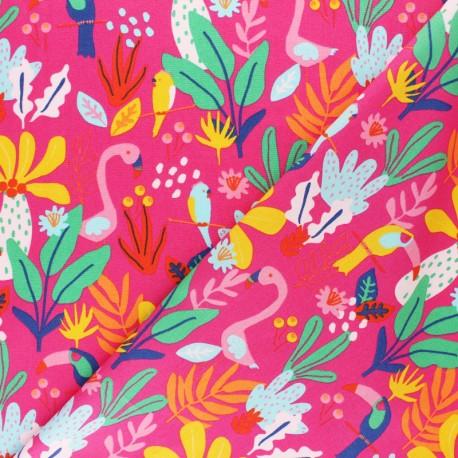 Poppy poplin cotton fabric - fuchsia pink Tropical x 10cm