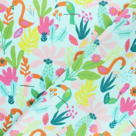 Poppy poplin cotton fabric - Mint green pink Tropical x 10cm