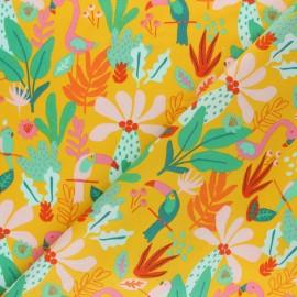 Tissu coton popeline Poppy Tropical - jaune moutarde x 10cm