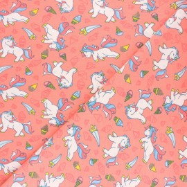 Poppy Jersey fabric - Coral pink  Unicorn and Icecreams x 10cm