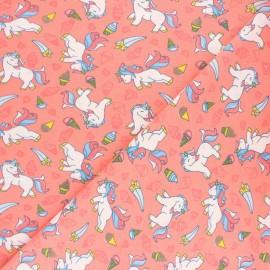 Tissu jersey Poppy Unicorn and Icecreams - Corail x 10cm