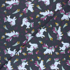 Poppy Jersey fabric - Anthracite grey pink Unicorn and Icecreams x 10cm