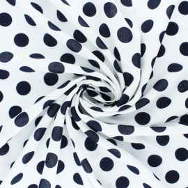 Dotted Viscose Fabric - Navy blue Othello x 10cm