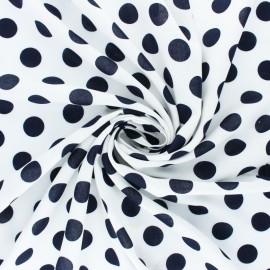 Tissu Viscose Othello à pois blanc - Bleu marine x 10cm