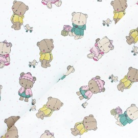 Poppy poplin cotton fabric - white Baby bears x 10cm