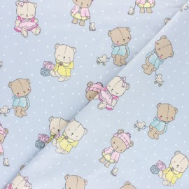 Poppy poplin cotton fabric - grey Baby bears x 10cm