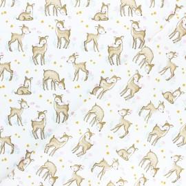 Tissu coton popeline Poppy Sweet Deer and Birds - blanc x 10cm