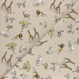 Jersey cotton fabric - Beige Safari x 10cm