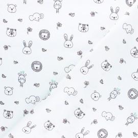 Poppy poplin cotton fabric - white Sweet animals x 10cm