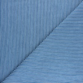 Striped Light denim fabric - Blue Saint-Raphaël x 10cm