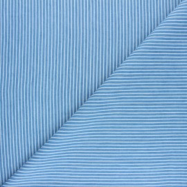 Tissu Jeans fluide rayé Saint-Raphaël - bleu clair x 10cm