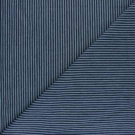 Striped Light denim fabric - dark Blue Saint-Raphaël x 10cm