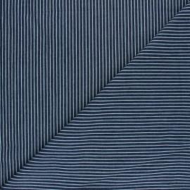 Tissu Jeans fluide rayé Saint-Raphaël - bleu foncé x 10cm