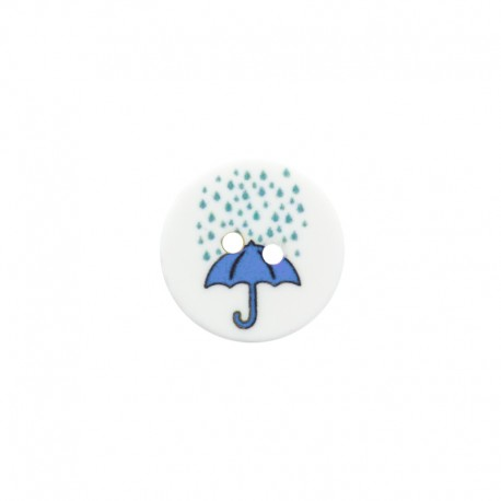 15 mm polyester button - Blue Umbrella