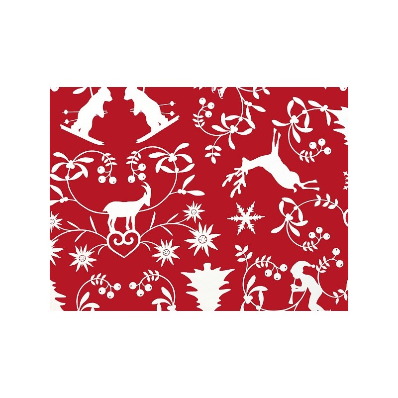 tissus pas cher tissu coton montagne rouge. Black Bedroom Furniture Sets. Home Design Ideas