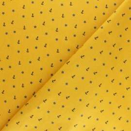 Poppy cotton Fabric - mustard yellow Sea adventure x 10cm