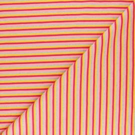 Tissu jersey rayures lurex - Rose x 10cm