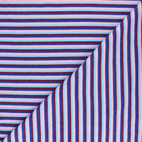 Tissu jersey rayures lurex - Bleu x 10cm