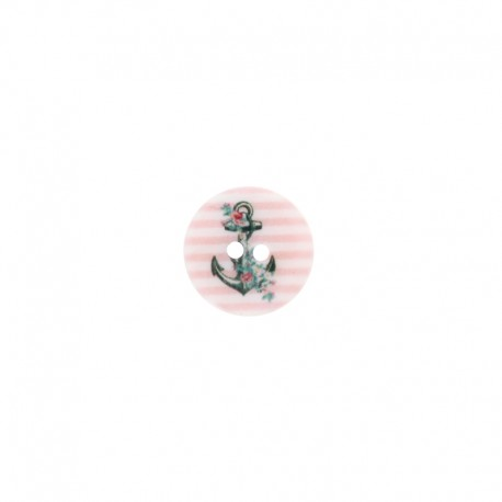 15 mm mother-of-pearl aspect polyester button - Pink Anchor