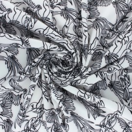 Elastane Crepe fabric - Pink Trèfle x 10cm