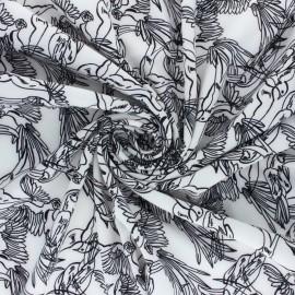 Tissu crêpe élasthanne Birdy - Blanc x 10cm