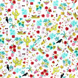 Poppy Poplin cotton fabric - White Tropical Vacation x 10cm