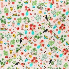 Poppy Poplin cotton fabric - White Tropical Vacation x 10cm