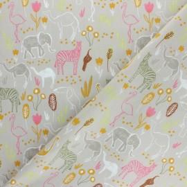 Tissu coton popeline Poppy Let's go on safari - Beige x 10cm