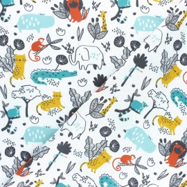 Poppy Poplin cotton fabric - Beige Let's go on safari x 10cm