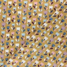 Tissu coton popeline Poppy Flower Fields - Ocre x 10cm