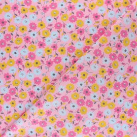 Poppy Poplin cotton fabric - Mustard yellow Flower Fields x 10cm