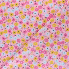 Tissu coton popeline Poppy Flower Fields - Jaune moutarde x 10cm