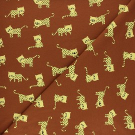Poppy Jersey fabric - Brown Little Panther x 10cm