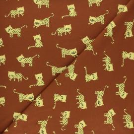 Tissu jersey Poppy Little Panther - Marron x 10cm