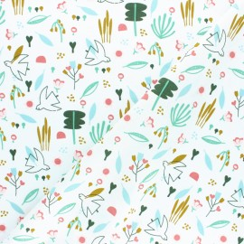 Tissu coton popeline Poppy Sweet Little Birds - Blanc x 10cm