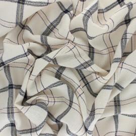 ♥ Coupon 10 cm X 130 cm ♥ Tissu coton froissé lurex Orla - Écru