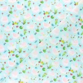 Poppy Poplin cotton fabric - Pastel blue Beautiful Swans x 10cm
