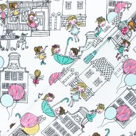 Tissu coton popeline Poppy City Girls - Blanc x 10cm