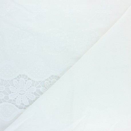 Scalloped embroidered linen and viscose fabric - white Rosemarie x 10 cm