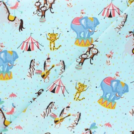 Poppy poplin cotton fabric - mint green Magic circus x 10cm
