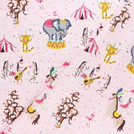 Poppy poplin cotton fabric - pink Magic circus x 10cm