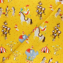 Poppy poplin cotton fabric - mustard yellow Magic circus x 10cm