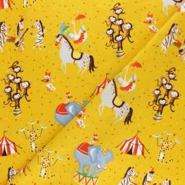 Tissu coton popeline Poppy Magic Circus - jaune moutarde x 10cm