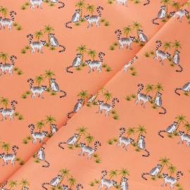 Tissu coton popeline Catch the coconut - saumon x 10cm