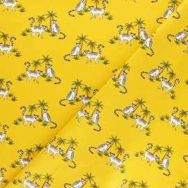 Tissu coton popeline Catch the coconut - jaune moutarde x 10cm