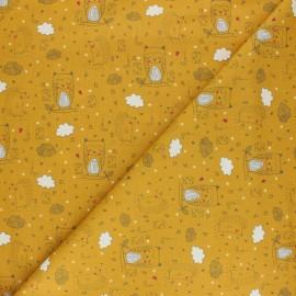 Tissu coton phosphorescent Poppy Sweet Dreams - Jaune moutarde x 10cm