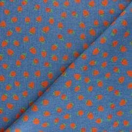 Tissu coton Chambray Poppy Strawberry Love - Orange x 10cm